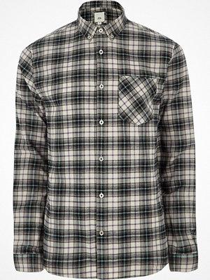 Skjortor - River Island Grey check long sleeve button-down shirt