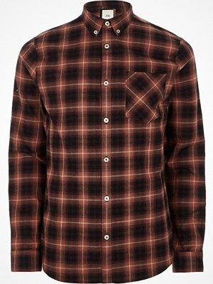 Skjortor - River Island Red check long sleeve button-down shirt
