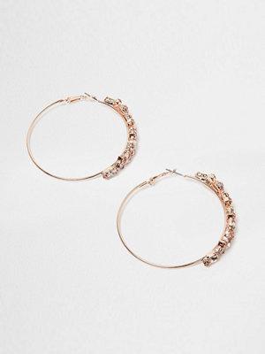 River Island örhängen Rose Gold tone hoop jewel earrings
