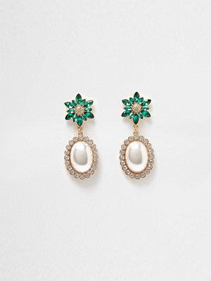 River Island örhängen Gold tone emerald faux pearl dangle earrings