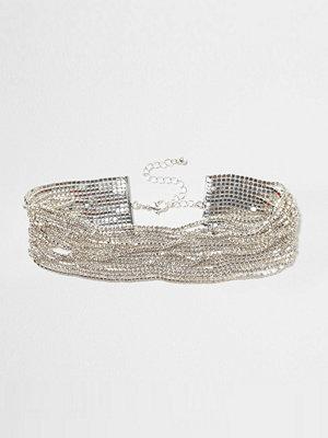 River Island Silver tone diamante multi layer chain choker
