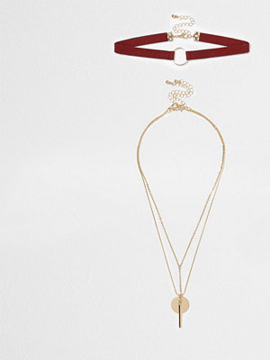 River Island halsband Dark Red circle layer choker set