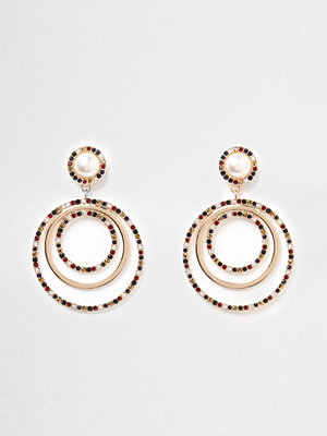 River Island örhängen Gold tone pearl diamante ring drop earrings