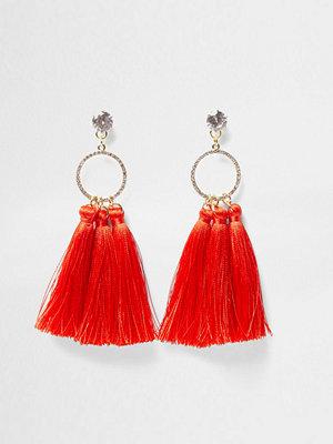 River Island örhängen Red tassel diamante pave circle earrings
