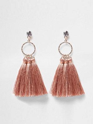 River Island örhängen Pink tassel diamante pave circle earrings