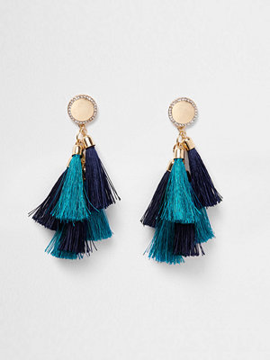 River Island örhängen Blue multi tassel diamante disk earrings