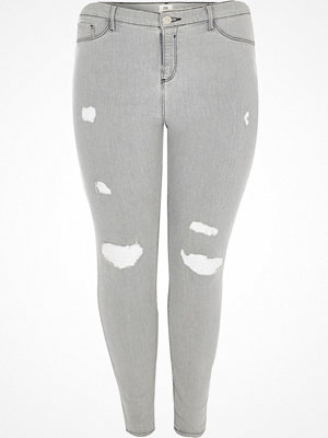 River Island Plus Grey Molly ripped skinny jeggings