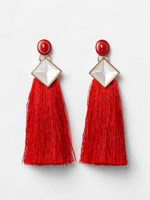 River Island örhängen Red tassel drop earrings
