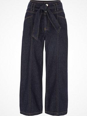 River Island Dark Blue tie waist denim culottes