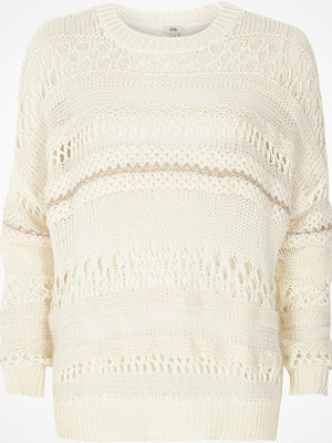 River Island White mixed knit slouch jumper