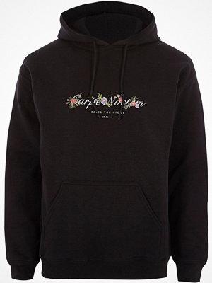 Street & luvtröjor - River Island Big and Tall Black 'carpe noctem' hoodie