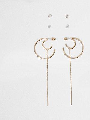 River Island örhängen Gold tone hoop chain earrings pack