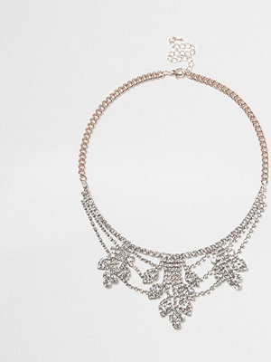 River Island halsband Rose Gold tone cup chain statement necklace