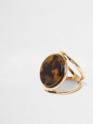 River Island Gold tone tortoiseshell disc ring