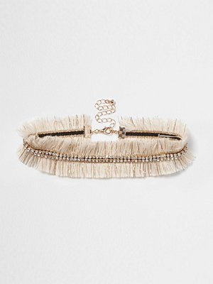 River Island halsband Cream metallic frayed diamante choker