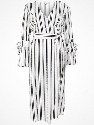 River Island White stripe wrap front midi dress