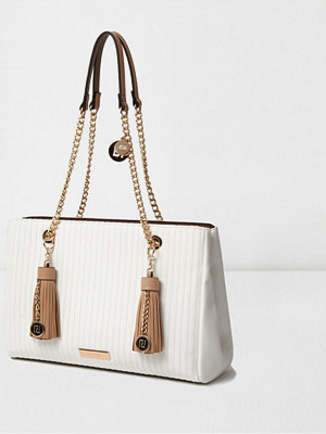River Island vit väska White quilted front chain handle tote bag