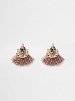 River Island örhängen Beige tassel fan jewel embellished earrings