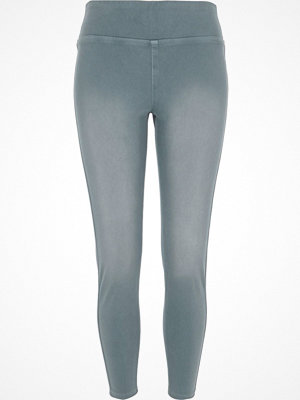 Leggings & tights - River Island Light Blue denim look leggings