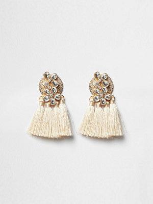 River Island örhängen Cream jewel tassel drop earrings