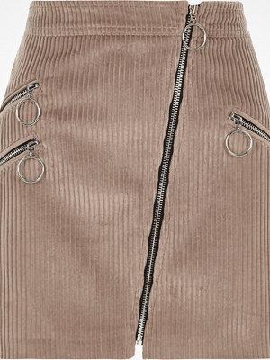 River Island Brown cord biker zip mini skirt