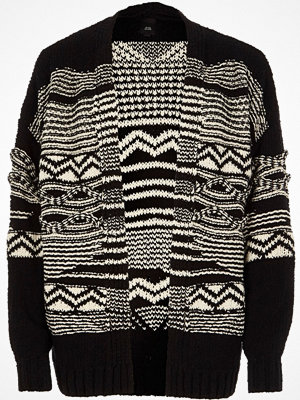 River Island Black aztec knit open front cardigan