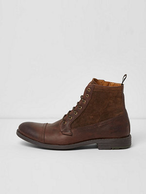 Boots & kängor - River Island Brown leather lace-up boots