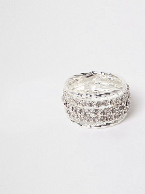 River Island Silver tone diamante encrusted ring