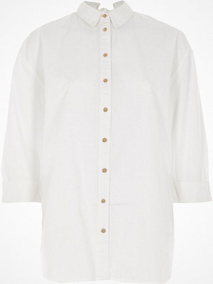 River Island White tie back shirt
