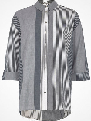 River Island Navy stripe tie back shirt