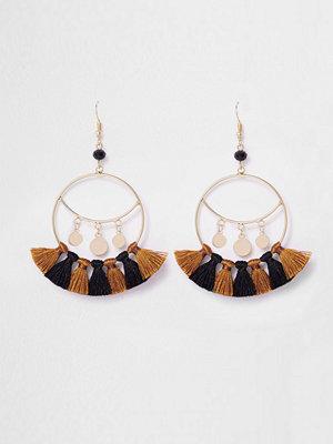 River Island örhängen Gold tone tassel drop hoop earrings