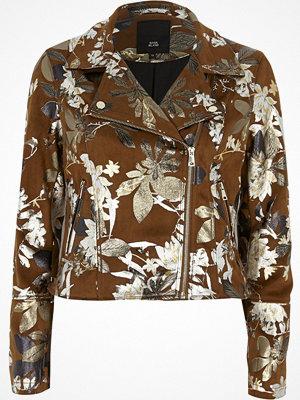 River Island Brown foil floral faux suede biker jacket