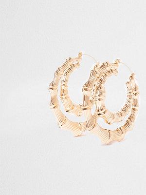 River Island örhängen Gold tone double bamboo hoop earrings