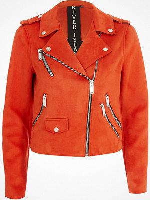 River Island Bright Orange faux suede biker jacket