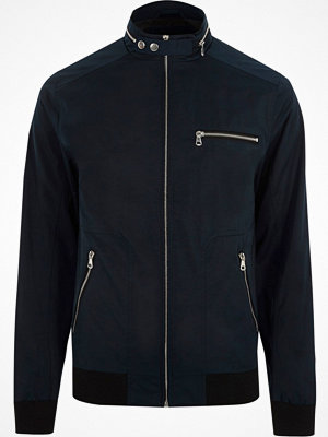 River Island Navy racer neck jacket