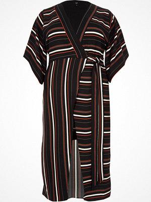 River Island Plus Black stripe kimono midi dress