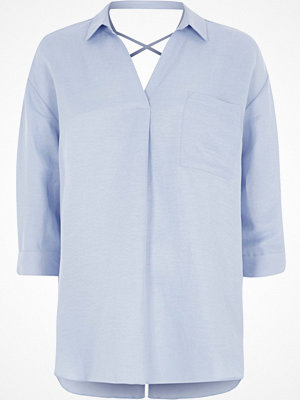 River Island Light Blue cross back blouse
