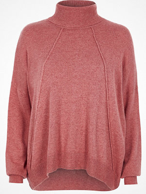 River Island Pink roll neck exposed seam jumper