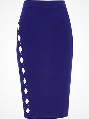 River Island Bright Blue cut out studded pencil skirt