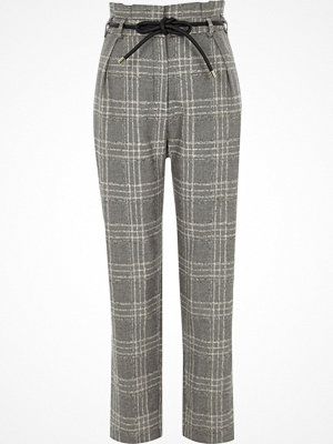 River Island grå rutiga byxor Black check tapered rope belt trousers