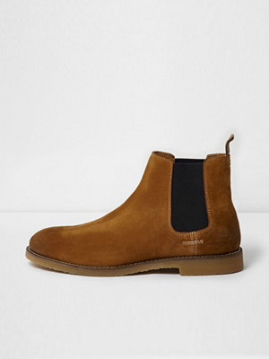 Boots & kängor - River Island Tan brown suede chelsea boots