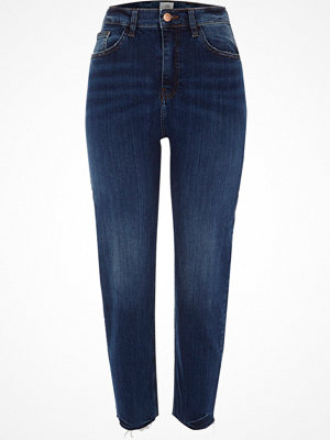 River Island Dark Blue Casey raw hem slim fit jeans