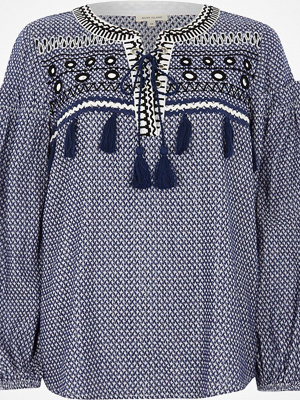 River Island Blue lace-up front print smock top