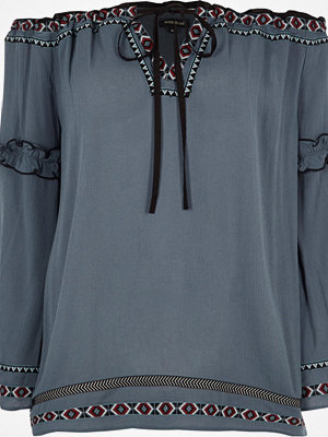 River Island Blue embroidered trim bardot smock top