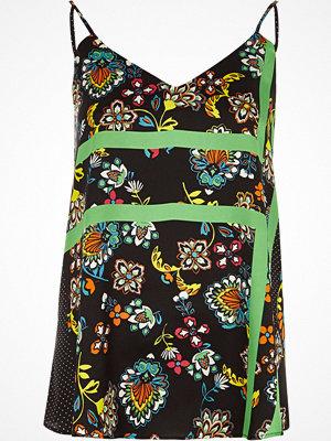 Linnen - River Island Black floral block print cami top