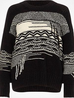 River Island Black and cream mixed block stitch jumper