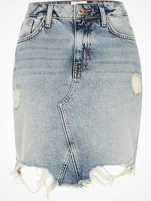 River Island Mid Blue ripped frayed hem denim mini skirt