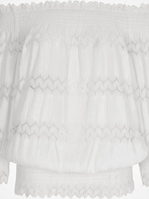 River Island Cream lace shirred bardot top