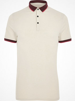 Pikétröjor - River Island Stone muscle fit short sleeve polo shirt