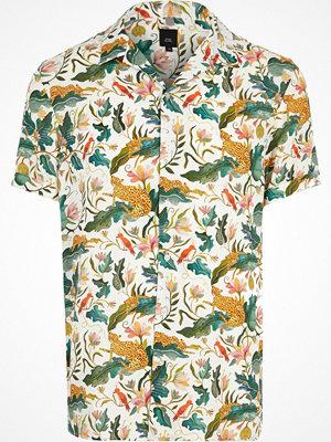 River Island Green jungle print short sleeve revere shirt